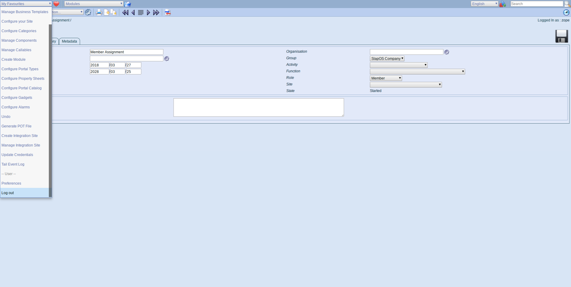 ERP5 Interface - Logout
