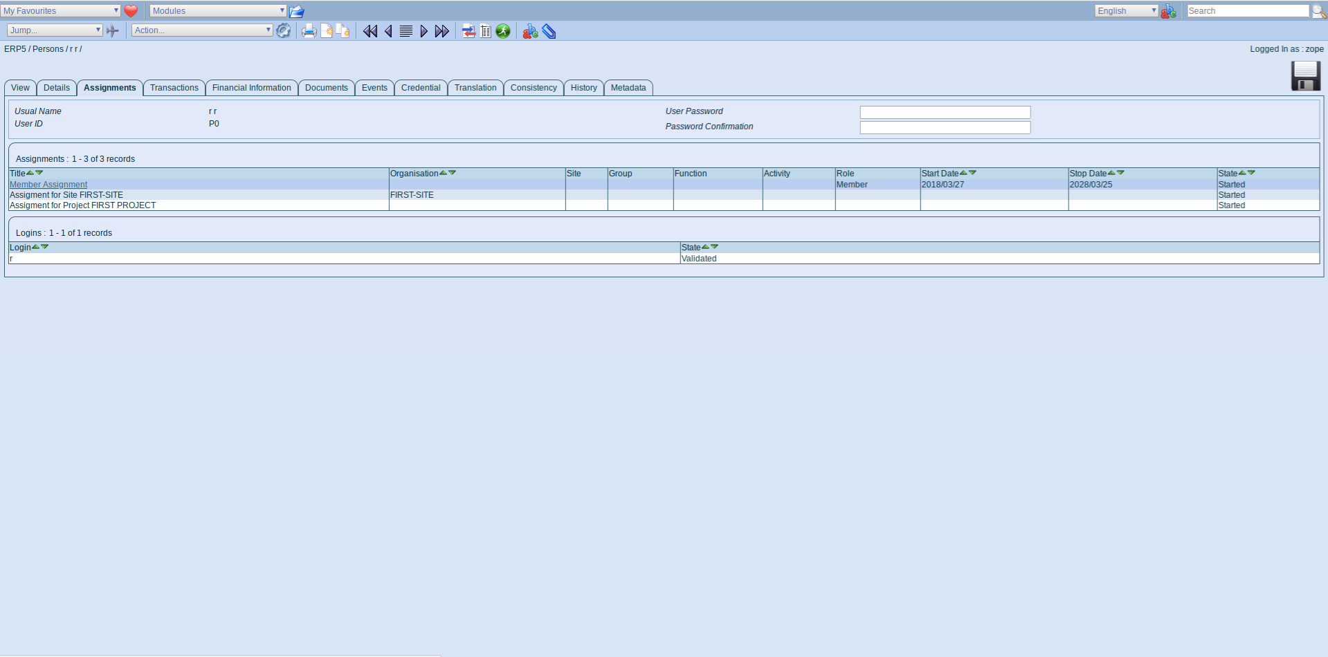 ERP5 Interface - Member Assignment