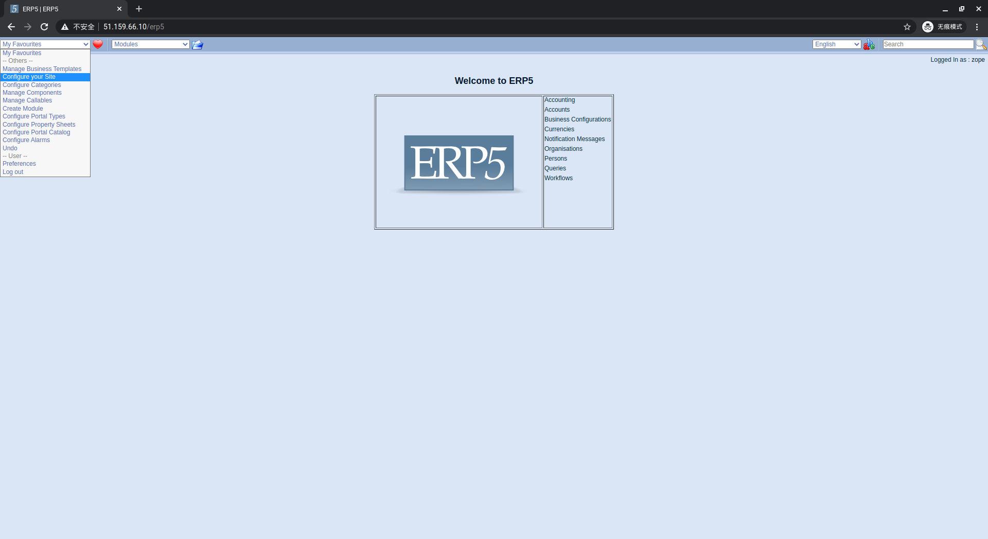 ERP5 Interface - Configure Site