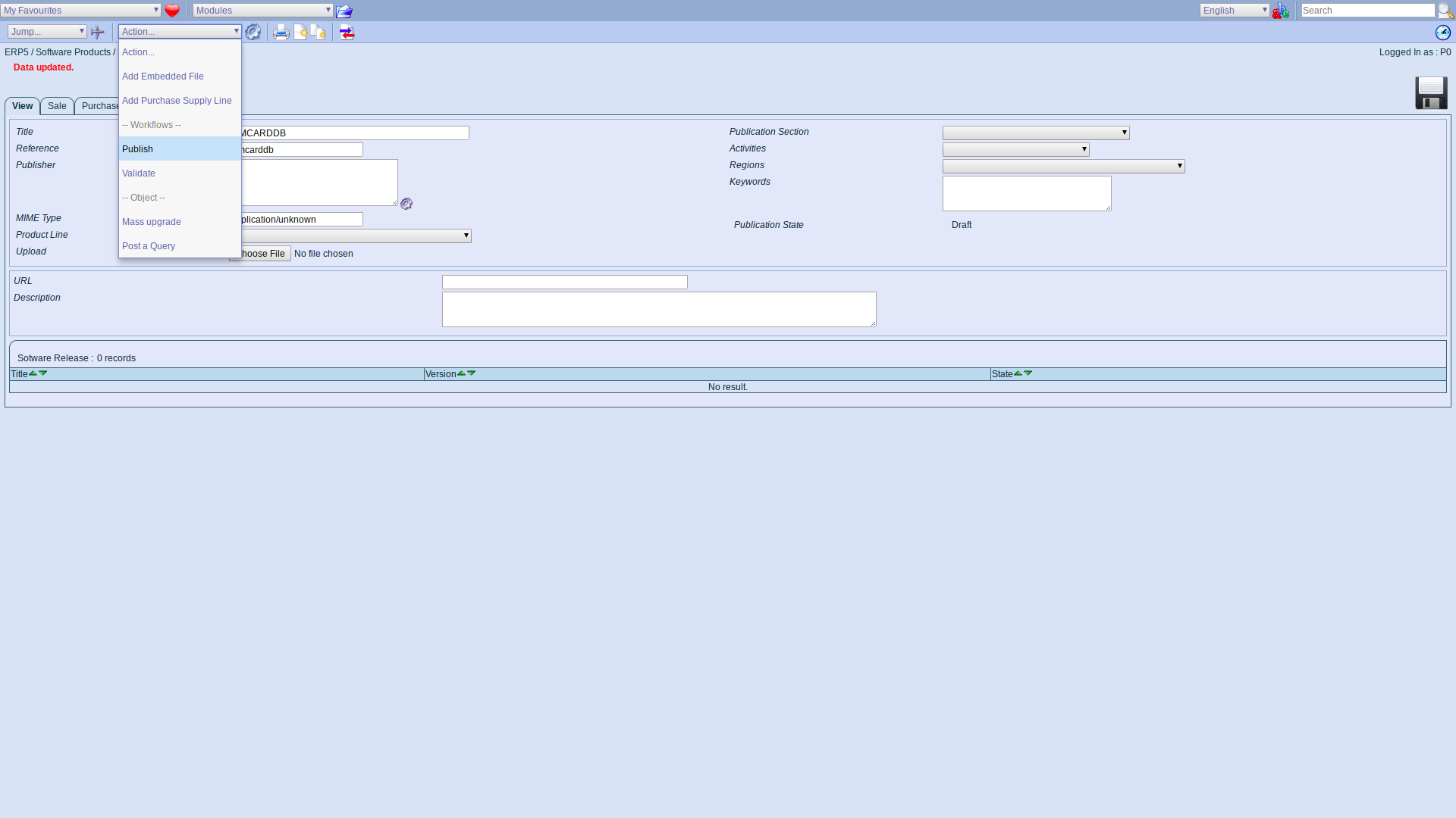 ERP5 Interface - Administrator Publish Software Product Webrunner