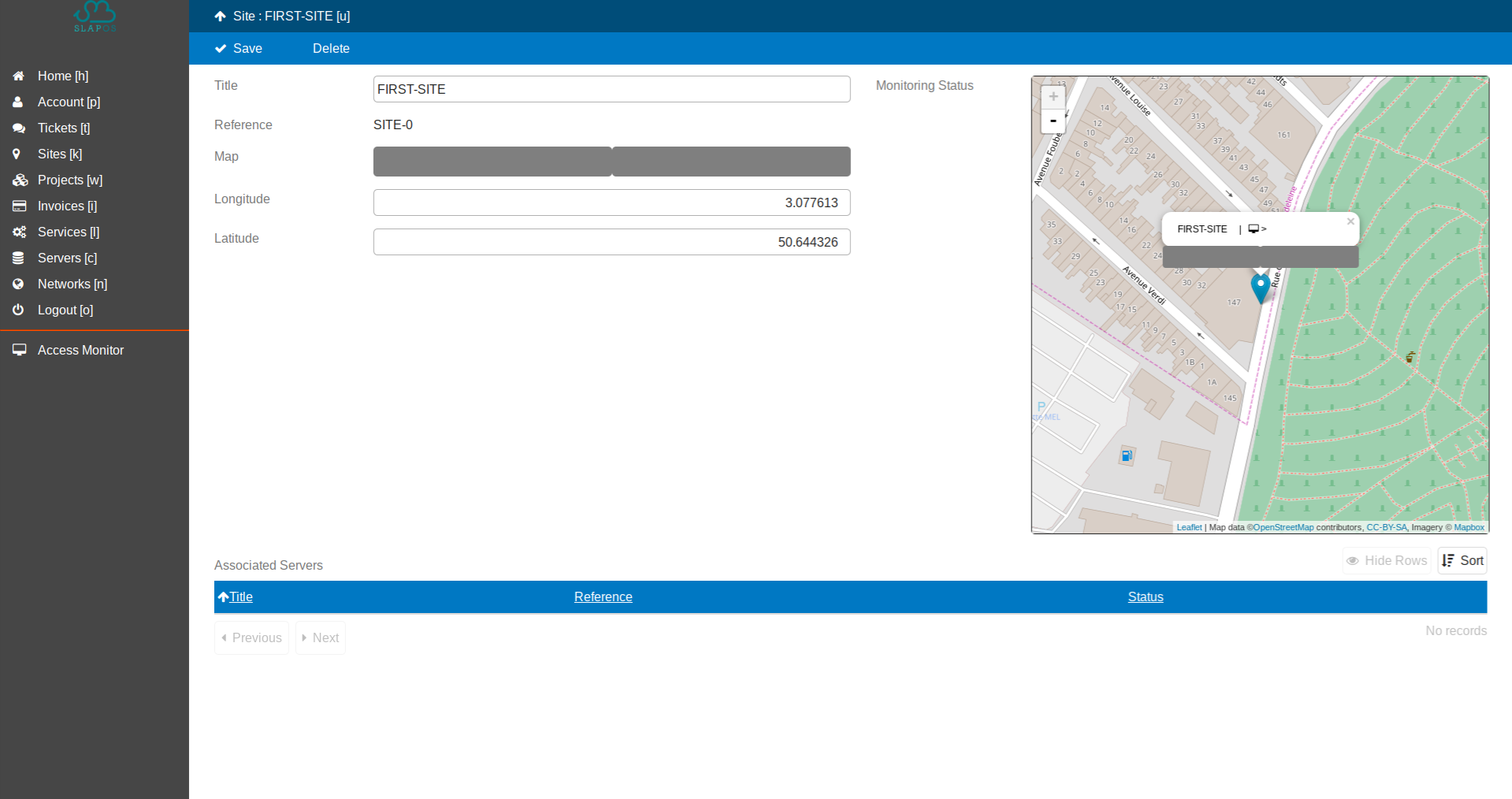 SlapOS Dashboard - Add Site Geocoordinates