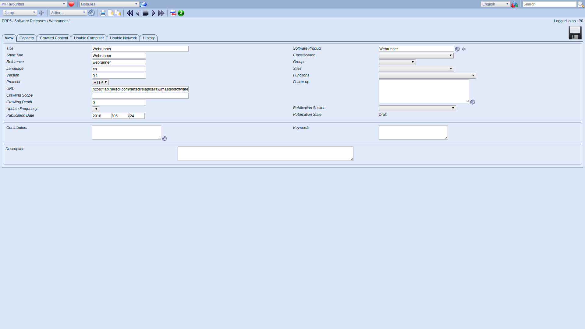 ERP5 Interface - Administrator Define Software Release Webrunner