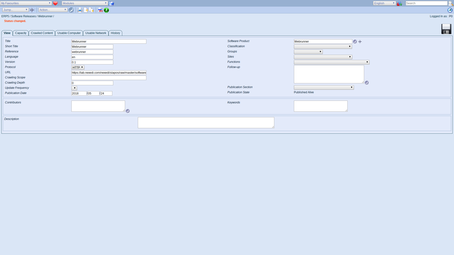 ERP5 Interface - Administrator Published Software Release Webrunner